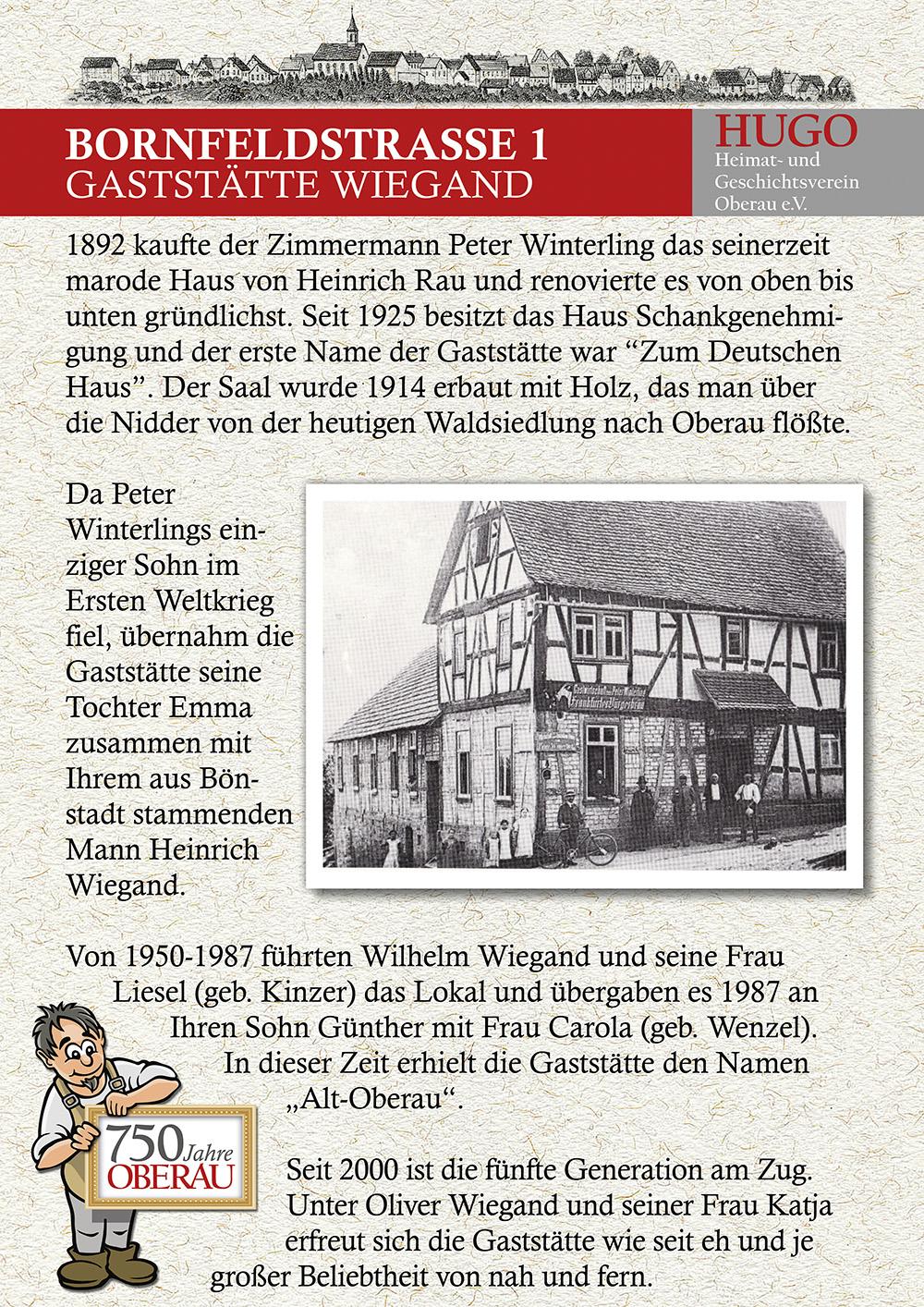 Bornfeldstraße 1 - Gaststätte Wiegand
